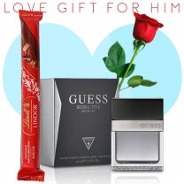 Guess Seductive Homme Perfume, Lindt Lindor Stick Chocolate (With Free Rose) for Him