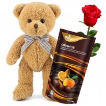Teddy Bear With Vochelle Orange Chocolates (Free Rose)