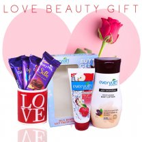 Love Gift - Love Mug, Cadbury Silks and Everyuth Body Lotion,Facewash Gift (With Free Rose)