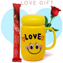 Love Smiley Mug, Lindt Stick and Free Rose