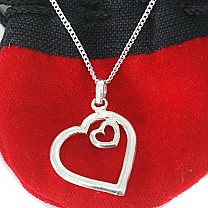 Sweetheart Silver Double Open Heart Pendant (With Silver Necklace Included)