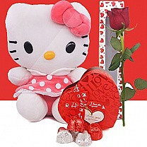 Cute Kitty, Assorted Gourmet Chocolates Box and Free Rose