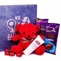 Chocolates With Mini Teddy Bear & Hand Sanitizer in Gift Box