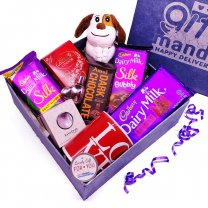 Adorable Puppy with Chocolate, Perfume & Mug in Gift Box