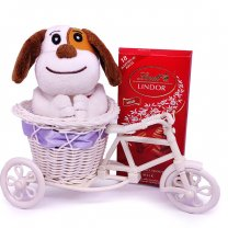Lindt Lindor Milk Swiss Chocolate With Adorable Puppy in Rickshaw
