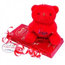 Cute Red Teddy Bear With Lindt Lindor Milk Swiss Chocolate