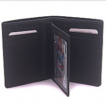 Unique Black Bi-Fold Wallet For Men - Extra Partition (Genuine Leather)