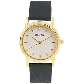 Sonata White Dial Black Leather Watch For Men - 7987YL02