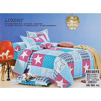 Bed Sheet with Two Pillow & Quilt Cover Set - Star Design