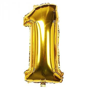 """Foil Balloon Number """"1"""" - Bright Golden & Silver"""