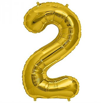 """Foil Balloon Number """"2"""" - Bright Golden & Silver"""