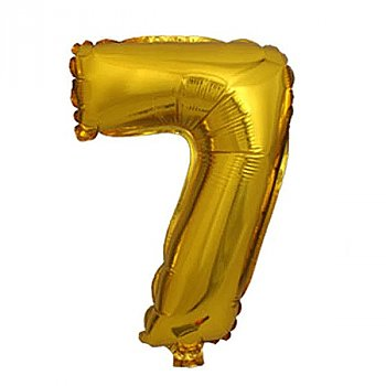 """Foil Balloon Number """"7"""" - Bright Golden & Silver"""