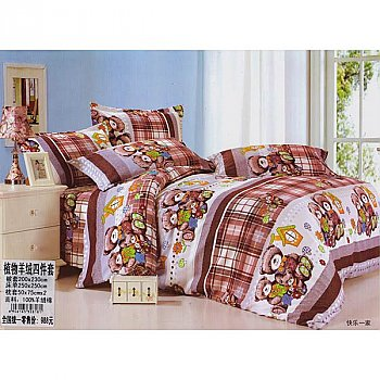 Bed Sheet with Two Pillow & Quilt Cover Set - Teddy Design