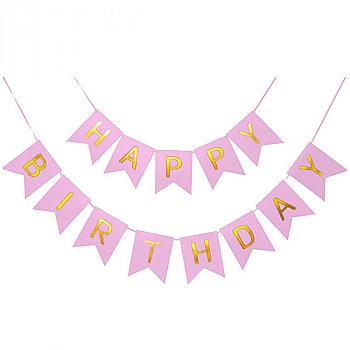 Happy Birthday Shimmering Gold Letter Banner Party Decoration