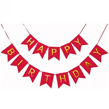 Shimmery Gold Letter Happy Birthday Party Decoration Banner - Red