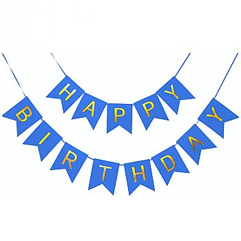 Happy Birthday Banner With Shimmery Gold Letter Party Decoration