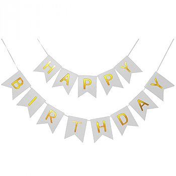 Shimmery Gold Letter Happy Birthday Banner Decoration - Silver
