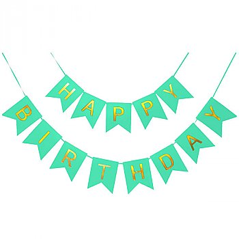Green Happy Birthday Banner with Glittery Gold Letter Decoration