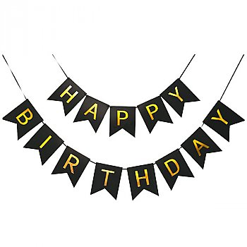 Happy Birthday Banner With Shimmering Gold Letter Stylish Decoration