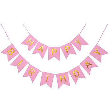 Pink Shimmering Happy Birthday Banner Party Decoration