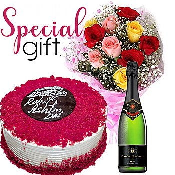 Cake, Sweet Red Wine and 7 Mix Roses Combo