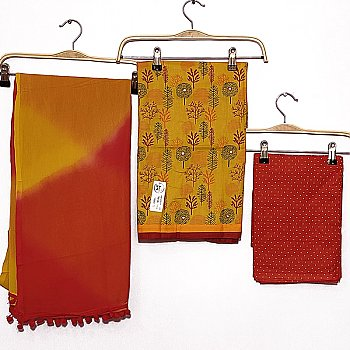 Unstitched Kurta Suruwal Piece - Yellow Tops With Red Bottom & Shawl