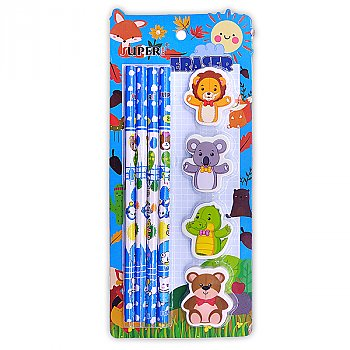 Animal Shaped Erasers With Set of Pencil For Kids - Blue