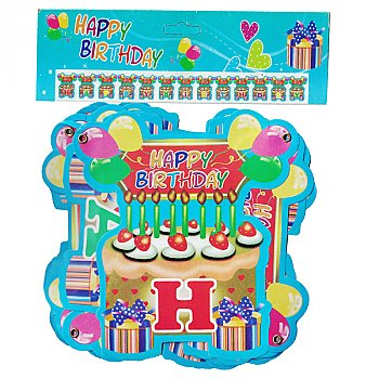 Colorful 'Happy Birthday' Letter Banner 13 Pcs (Design-4)