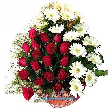 Red Roses and White Gerbera Special Event Basket