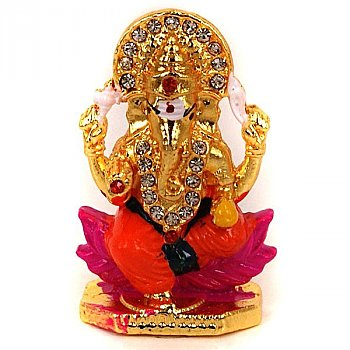Metal Laddoo Ganesh with Stones (2 inch)