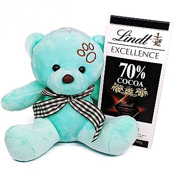 Lindt Excellence 70% Dark Chocolate With Teddy Bear