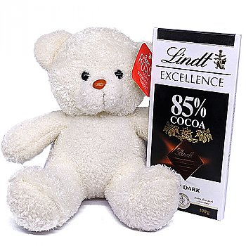 Lindt Excellence 85% Dark Chocolate With White Teddy Bear