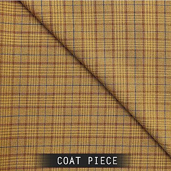 Sangam Suitings Formal Check Pattern Coat Piece - Brown