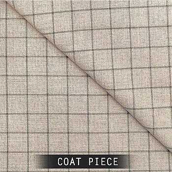 Sangam Suitings Check Pattern Coat Piece - Grey
