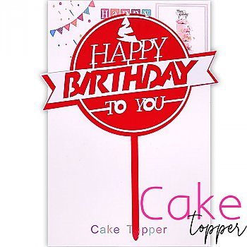 'Happy Birthday to you' Red Cake Topper