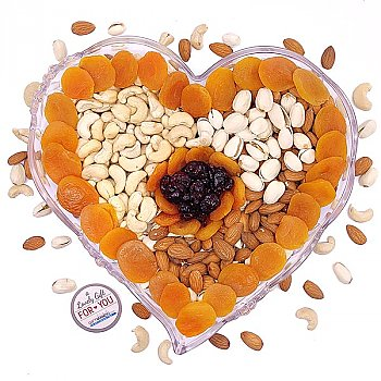 Healthy Dry Nuts & Fruits Heart Tray (Home Special Healthy Bites)