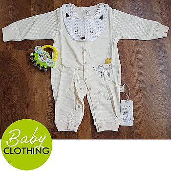 Cotton Jumpsuit For Baby - Yellow (3-9 Months)
