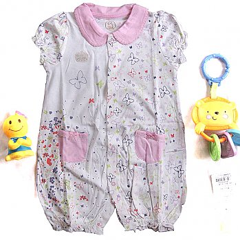 Onesie Coverall Romper - Light Pink Butterfly (9-12 month)