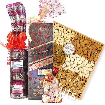 JW Double Black & Dry Nuts Wooden Tray, Chocolate Gift