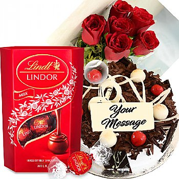 Cake, Lindt Lindor Chocolates and Rose Flowers