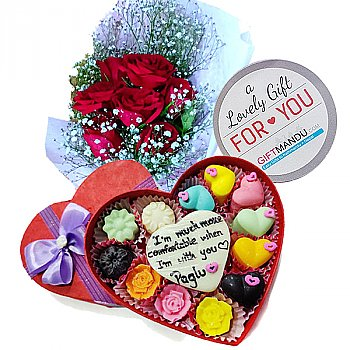 Personalized Chocolate Box With Roses