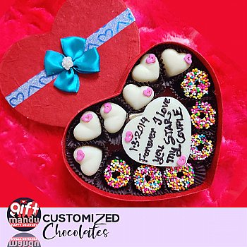 Assorted White and Milk Sprinkled Chocolates Heart Box With Your Message