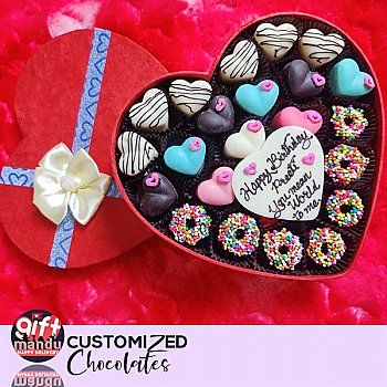 Assorted White and Milk Sprinkled Chocolates Heart Box With Your Message (Big)
