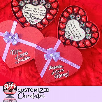 Assorted Milk, Dark Chocolates Heart Box With Your Message and Names (One Heart Box)