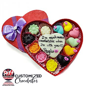 Assorted Flavor Chocolates Heart Box With Your Message and Names