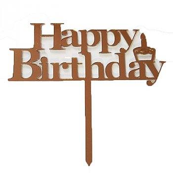 ''Happy Birthday'' Cake Topper - Brown