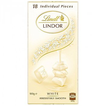 Lindt Lindor White Swiss Chocolate 100g (18 Individual Pieces)