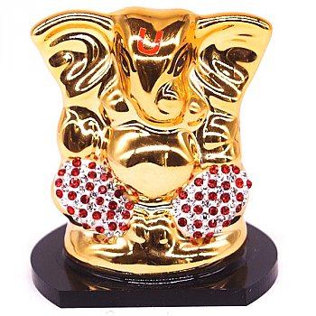 Stone Decorated Golden Ganesh Statue - Red