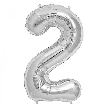 """Foil Balloon Number """"2"""" - Silver"""