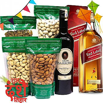 JW Red Label 750ml With Red Sweet Wine & Dry Nuts